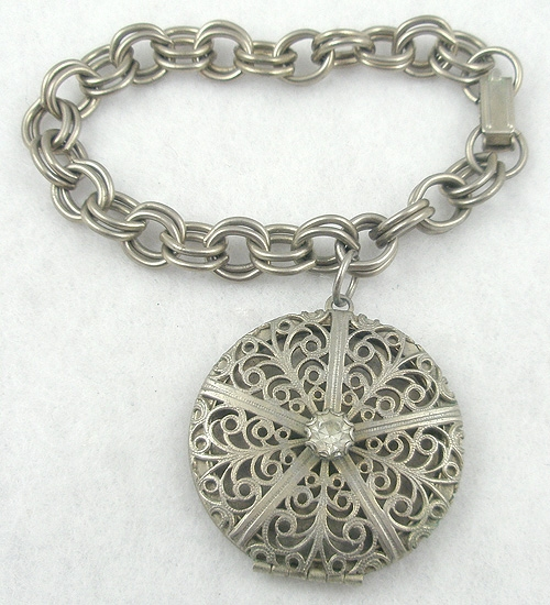 Newly Added Filigree Locket Charm Bracelet
