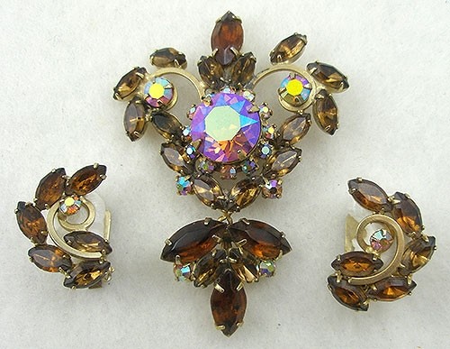 Newly Added Topaz Rhinestone Brooch & Earrings Set