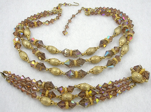 Newly Added Topaz Crystal Bead Necklace Bracelet Set