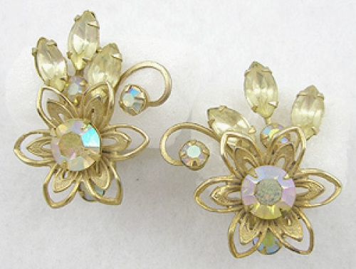 Newly Added Gold Tone Flower Clip Earrings