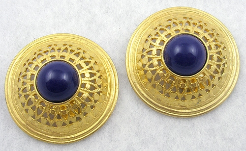 Newly Added Ben-Amun Gold Pierced & Domed Earrings