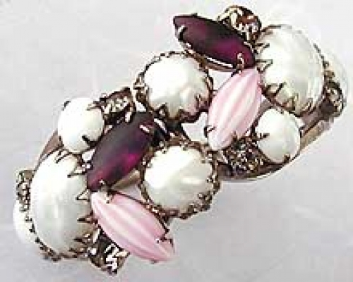 Newly Added White Glass & Pink Striped Navette Clamper