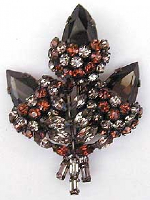 Newly Added Schreiner Black Diamond Rhinestone Leaf Brooch