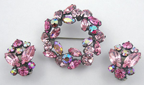 Newly Added Regency Pink Rhinestone Brooch Set