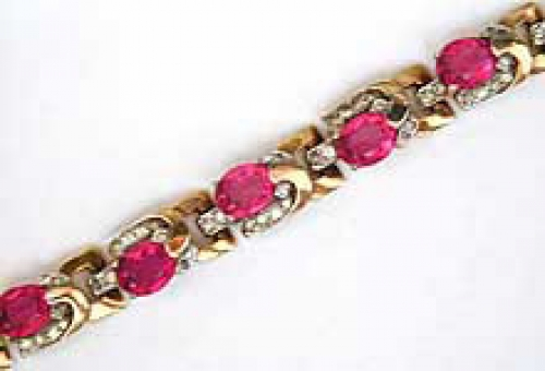 Newly Added Art Deco Pink Rhinestone Bracelet