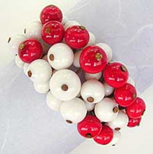 Newly Added Miriam Haskell Red & White Bead Wrap Bracelet