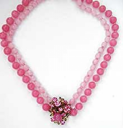 Newly Added Miriam Haskell Pink Bead Necklace