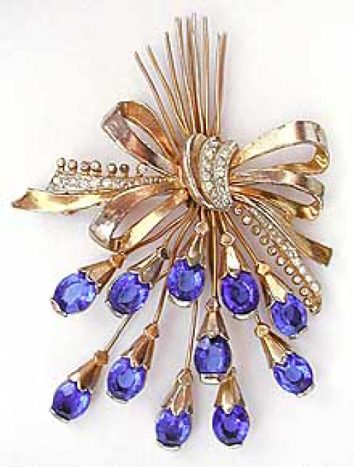 Newly Added Retro Royal Blue Rhinestone Spray Brooch