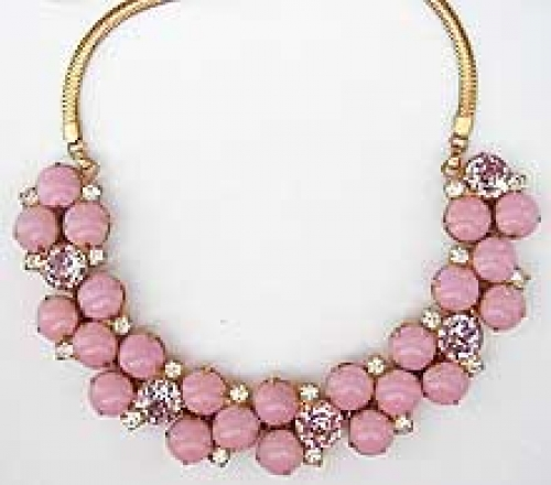 Newly Added Hobé Pink Cabochon Lavender Rhinestone Necklace