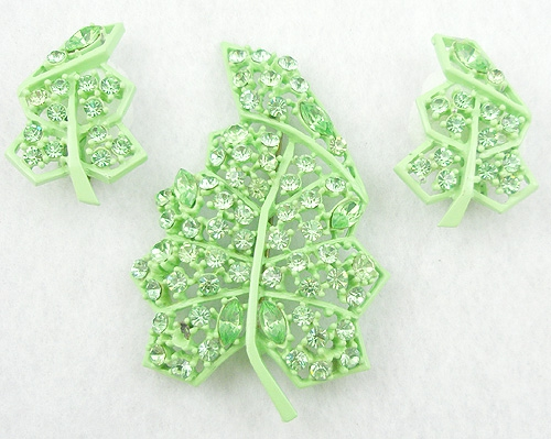 Newly Added Lime Green Japanned Rhinestone Leaf Brooch Set