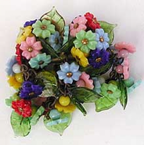 Newly Added Miriam Haskell Czech Flowers Glass Leaves Brooch