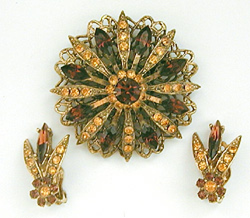 Newly Added Selini Topaz Rhinestone Brooch Set