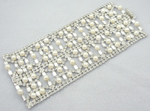 Newly Added Rhinestone & Faux Pearl Super Wide Bracelet