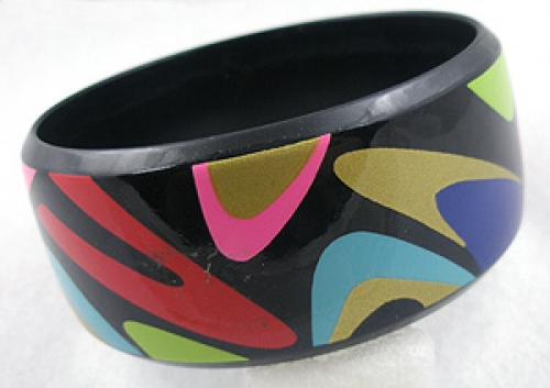 Newly Added Mod Black Painted Bangle Bracelet