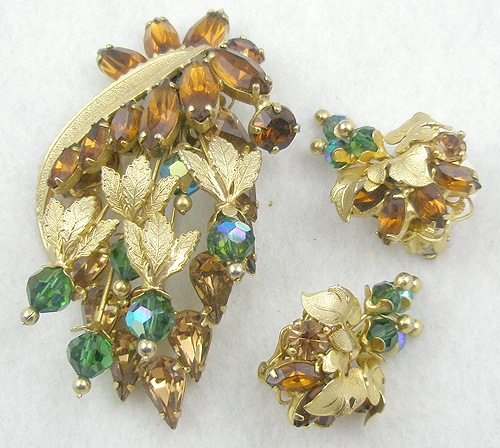 Newly Added Topaz Rhinestone Green Crystal Brooch Set