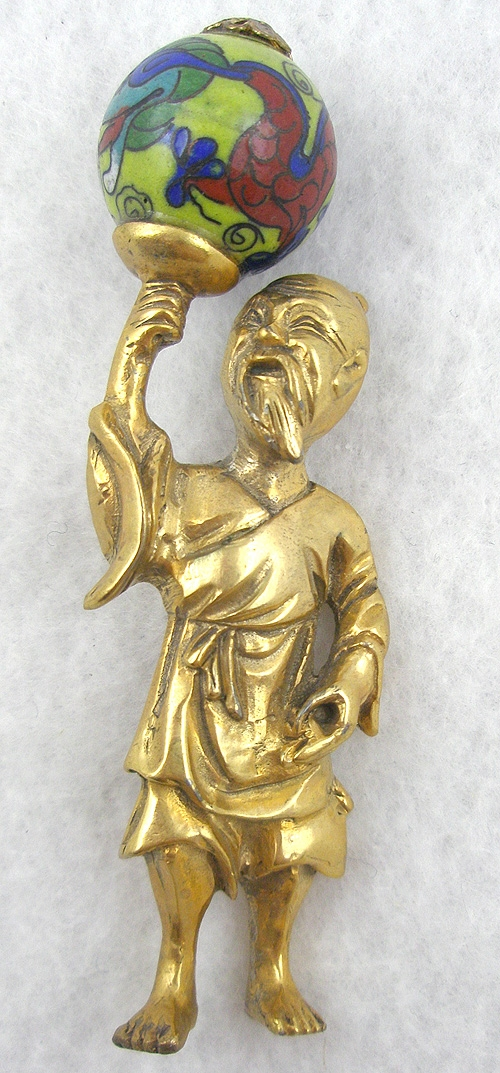 Newly Added Chinese Man Holding Cloisonne Globe Brooch