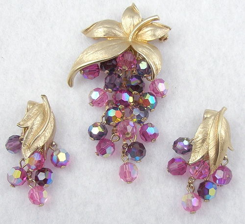 Newly Added Pink Crystal Grapes Brooch &  Earrings Set
