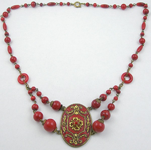 Newly Added Czech Red Enamel Medallion Necklace