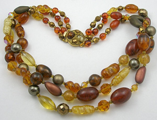 Newly Added Topaz/Amber Bead Triple Strand Necklace