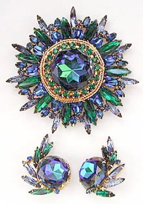 Newly Added DeLizza & Elster Blue Watermelon Brooch Set