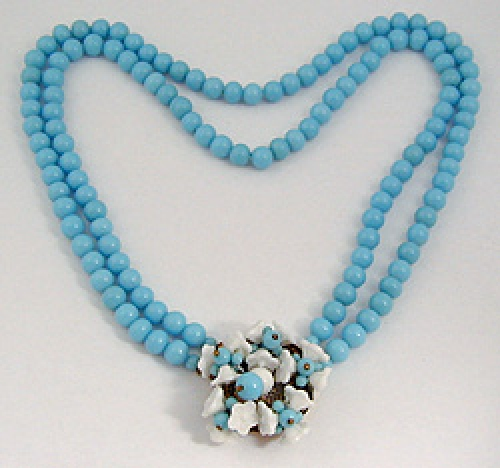 Newly Added Japan Aqua Glass Bead Necklace