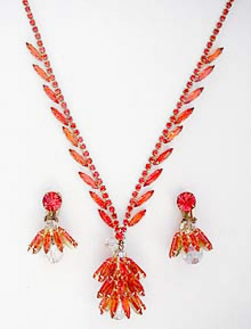 Newly Added DeLizza & Elster Orange Rhinestone Navette Necklace Set