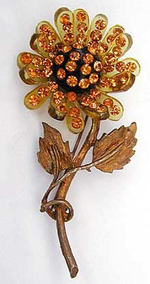 Newly Added Forbidden Fruit Style Lucite Flower Brooch