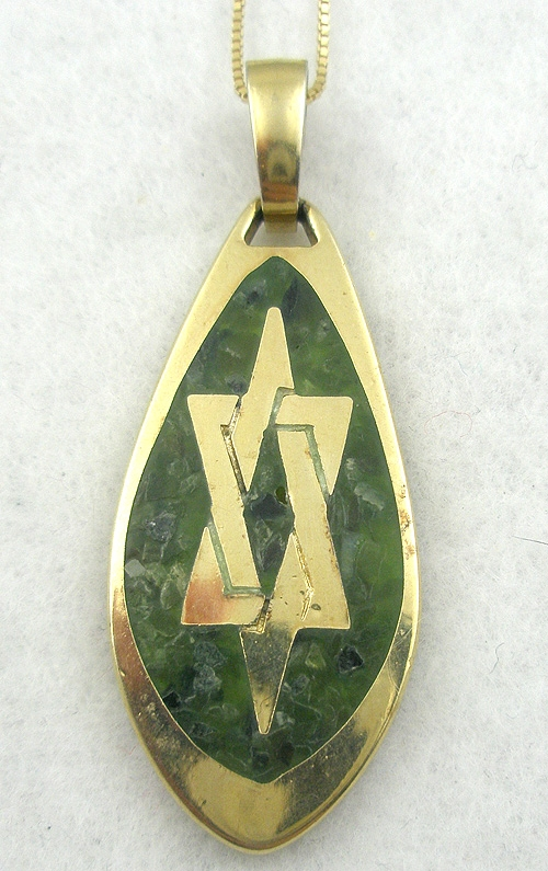 Newly Added Signed Gold Tone Jade Chip Star of David Pendant