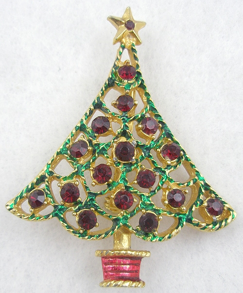 Newly Added Red Rhinestone Christmas Tree Brooch