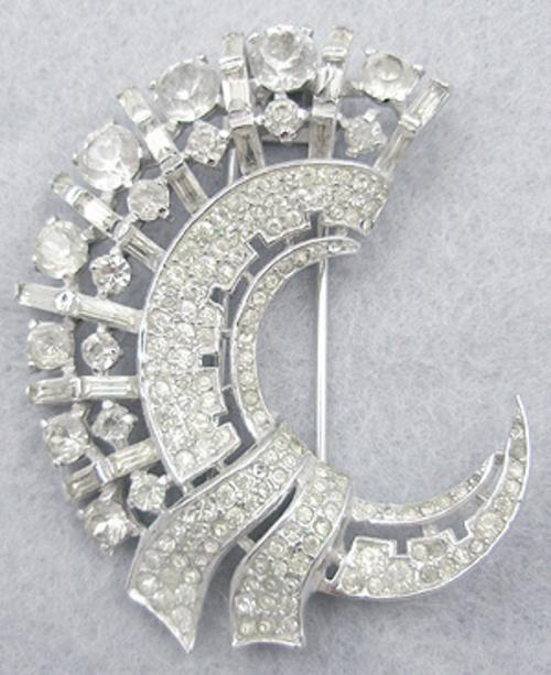 Newly Added Trifari Sterling Crescent Fur Clip