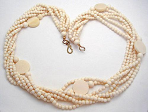 Newly Added Ivory Plastic 'Love Beads' Necklace