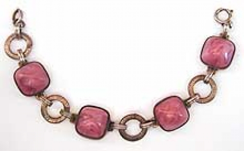 Newly Added Art Deco Pink Glass Bracelet