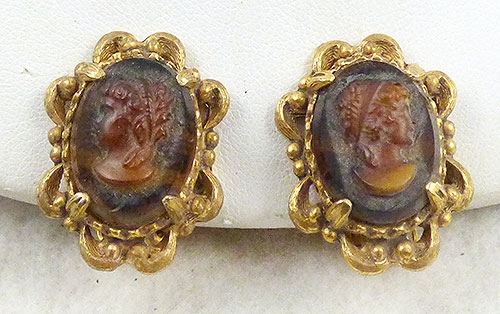 Newly Added Florenza Glass Cameo Earrings