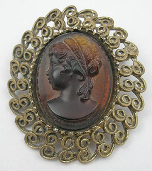 Newly Added Root Beer Glass Cameo Brooch