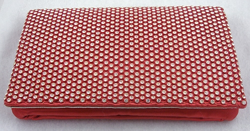 Newly Added Magid Red Satin & Rhinestone Clutch Purse