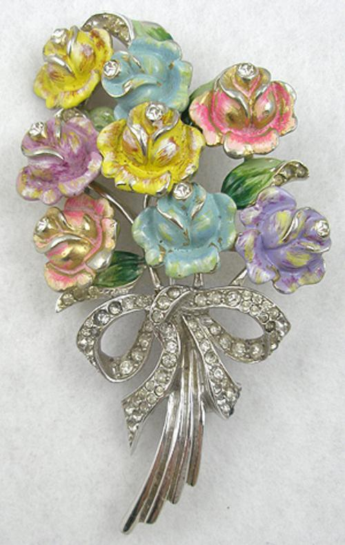 Newly Added Coro Pastel Bouquet Brooch