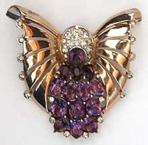 Newly Added Boucher Sterling Wing Amethyst Rhinestone Fur Clip