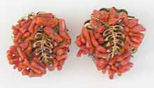 Newly Added Miriam Haskell Spezzati Coral Earrings