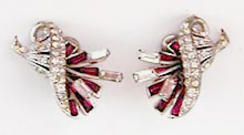 Newly Added Boucher Sterling Rhinestone Earrings