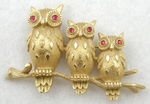 Newly Added Trifari Trio of Owls Brooch