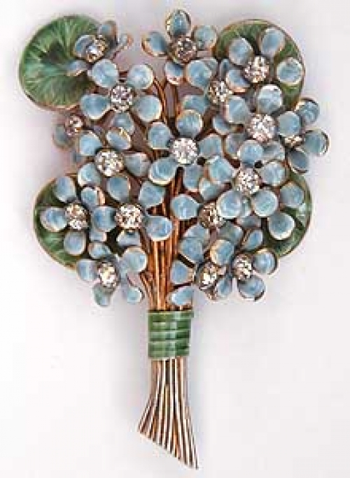 Newly Added Sandor Enameled Flowers Bouquet Brooch