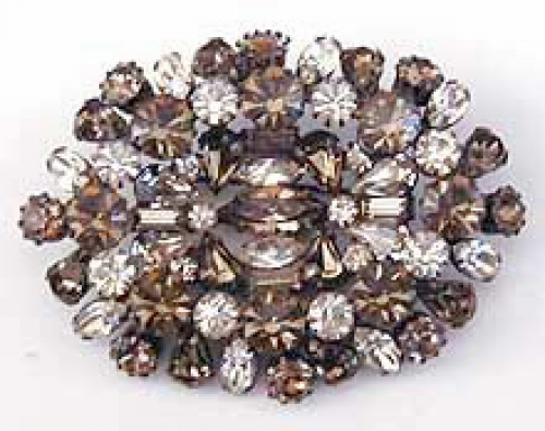 Newly Added Alice Caviness Black Diamond Rhinestone Reverse Domed Brooch