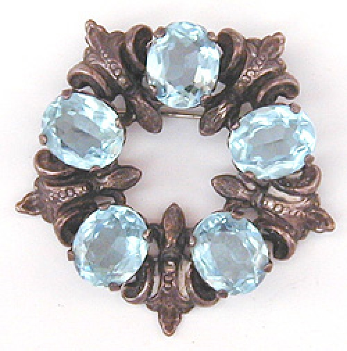 Newly Added Cini Sterling Aqua Rhinestone Brooch