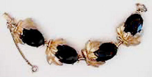 Newly Added Schiaparelli Black Glass Bracelet