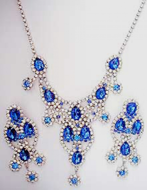 Newly Added Dominique Blue Rhinestone Necklace Set