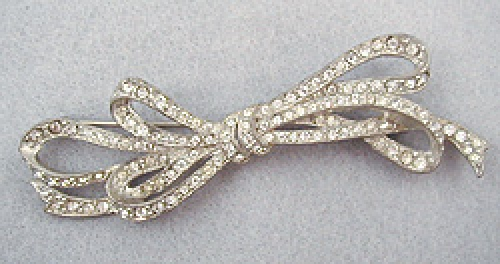 Newly Added Rhinestone Loopy Bow Brooch