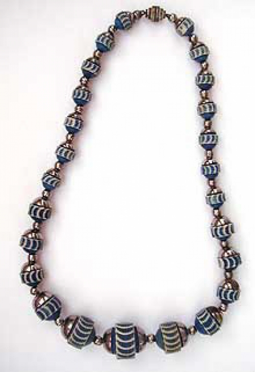 Newly Added Carved Blue Celluloid Bead Necklace