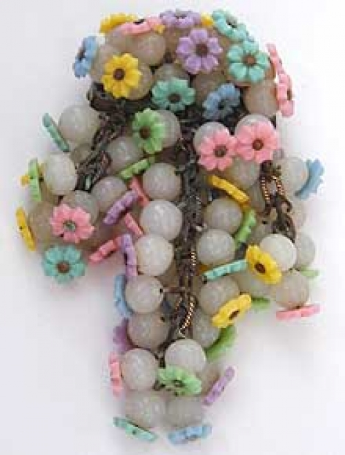 Newly Added Miriam Haskell Plastic Flowers Brooch