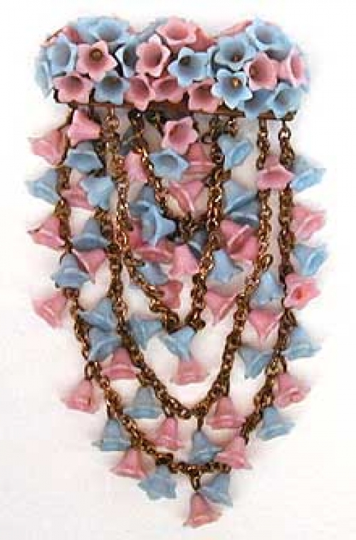 Newly Added Miriam Haskell Blue & Pink Flowers Brooch
