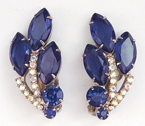 Newly Added DeLizza & Elster Blue Rhinestone Earrings